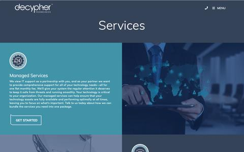 Screenshot of Services Page decyphertech.com - Services - Decypher Technologies - captured Oct. 5, 2018