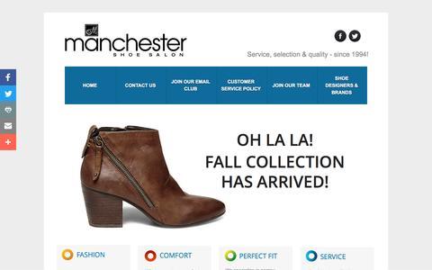 Screenshot of Home Page manchestershoes.ca - Manchester Shoe Salon - Saint John Shoe Store - captured Nov. 19, 2016