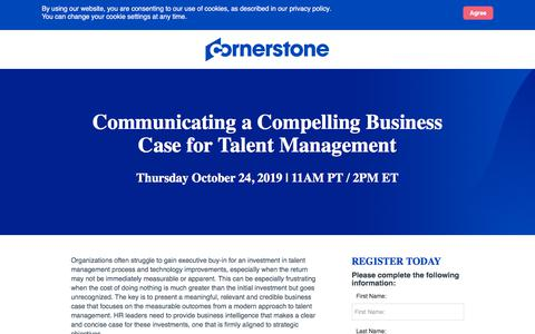 Screenshot of Landing Page cornerstoneondemand.com - CSOD | Communicating a Compelling Business Case for Talent Management - captured Oct. 22, 2019