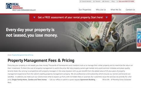 Screenshot of Pricing Page rpmsanfernandovalley.com - Property Management Fees San Fernando Valley CA - captured Feb. 14, 2016