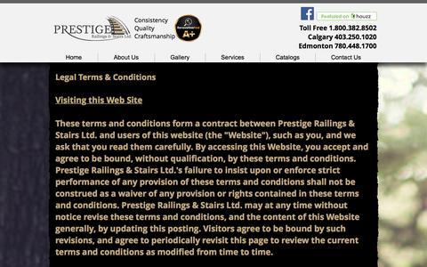 Screenshot of Terms Page prestigerailings.com - Prestige Railings & Stairs LTD.   Calgary Stairs, Railings and Glass - captured Nov. 11, 2016