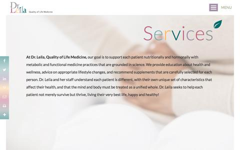Screenshot of Services Page drleila.com - Services | Holistic Medicine | Dr. Leila Kirdani - captured July 5, 2017