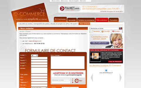 Screenshot of Contact Page id-commerce.com - Solution e-commerce - captured Oct. 23, 2018