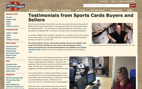 Screenshot of Testimonials Page deanscards.com - Testimonials from buyers & sellers of Sports Card Collections - captured Aug. 6, 2018