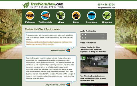 Screenshot of Testimonials Page treeworknow.com - Tree Service Orlando : Daytona Beach Stump Grinding : Seminole County Tree Removal - captured Nov. 18, 2018
