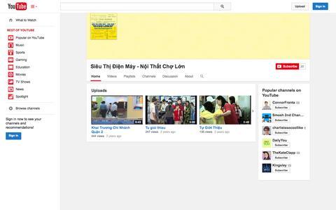 Screenshot of YouTube Page youtube.com - Siêu Thị Điện Máy - Nội Thất Chợ Lớn  - YouTube - captured Nov. 2, 2014