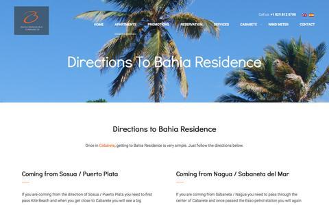 Screenshot of Maps & Directions Page bahia-cabarete.com - Directions to Bahia Residence - Bahia Residence - captured Nov. 22, 2016