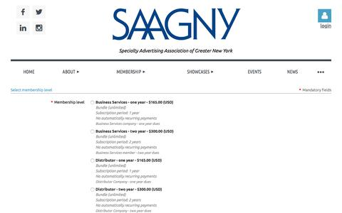 Screenshot of Signup Page saagny.org - SAAGNY - Membership Application - captured July 24, 2018