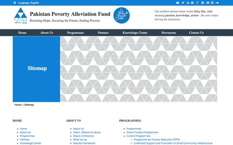 Screenshot of Site Map Page ppaf.org.pk - Pakistan Poverty Alleviation Fund - captured Sept. 26, 2018
