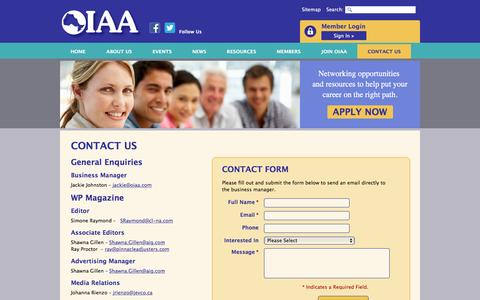 Screenshot of Contact Page oiaa.com - Contact Us | General, WP Magazine, Website | OIAA - captured April 17, 2016