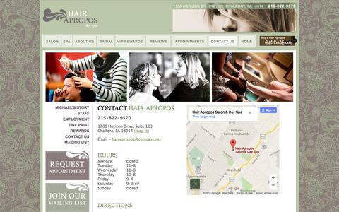 Screenshot of Contact Page Hours Page hairapropos.com - Hair Apropos Salon Spa - Day Spa and Hair Salon in Chalfont, Bucks County Pennsylvania (PA) near Doylestown and Montgomery County PA - captured June 19, 2016