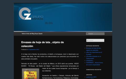 Screenshot of Blog gzapata.com - Bienvenido al Blog de Grupo Zapata - captured Oct. 1, 2014
