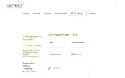 Screenshot of Contact Page welthuus.nl - Contact formulier WELTHUUS | Zorgtechniek & Innovatie - captured Oct. 28, 2017