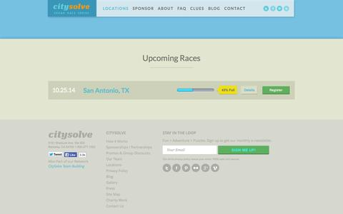 Screenshot of Locations Page citysolveurbanrace.com - Locations | CitySolve Urban Race - captured Oct. 2, 2014