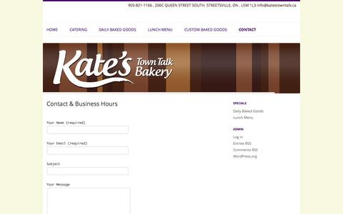 Screenshot of Contact Page katestowntalk.ca - Contact & Business Hours | Kate's Town Talk Bakery - captured Oct. 6, 2014