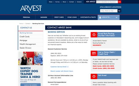 Screenshot of Contact Page arvest.com - Contact Arvest Bank - captured May 19, 2019