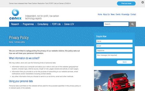 Screenshot of Privacy Page cenex.co.uk - Privacy Policy - Cenex - captured Sept. 29, 2014