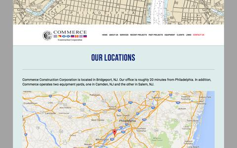 Screenshot of Contact Page commerceconstruction.com - Locations — Commerce Construction - captured Jan. 30, 2016
