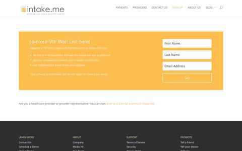 Screenshot of Signup Page intake.me - Sign up | Intake.Me - captured Oct. 6, 2014