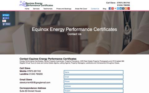 Screenshot of Contact Page energyperformancecertificates.biz - Epc from £40 | Southend | Equinox Energy Performance Certificates - captured Aug. 15, 2017
