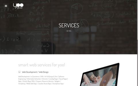 Screenshot of Services Page yoodesign.gr - Services | Development / Design / Graphics / Marketing / Hosting - captured March 30, 2016
