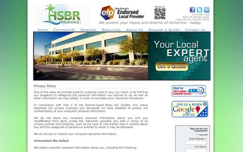 Screenshot of Privacy Page hsbrinsurance.com captured Oct. 1, 2014