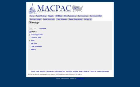 Screenshot of Site Map Page macpac.gov - Sitemap - MACPAC - captured Oct. 3, 2014
