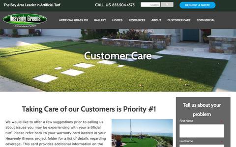 Screenshot of Support Page heavenlygreens.com - Heavenly Green's Customer Care - captured Nov. 4, 2018