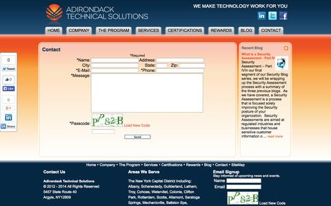Screenshot of Contact Page adktechs.com - Contact : Adirondack Technical Solutions - captured Oct. 4, 2014