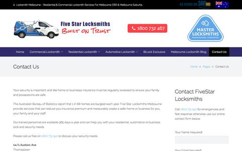 Screenshot of Contact Page fivestarlocksmiths.com.au - Contact Five Star Locksmiths in Melbourne - captured Aug. 15, 2018