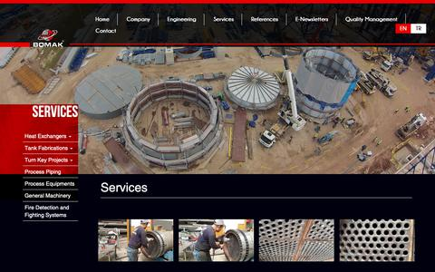 Screenshot of Services Page bomak.com.tr - Services - captured Oct. 6, 2018