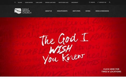 Screenshot of Home Page eaglebrookchurch.com - Home | Eagle Brook Church - captured Dec. 6, 2015