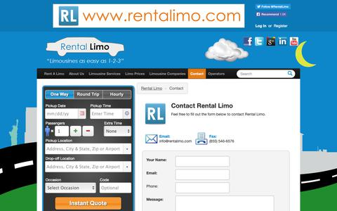 Screenshot of Contact Page rentalimo.com - Contact Rental Limo - captured Nov. 15, 2018