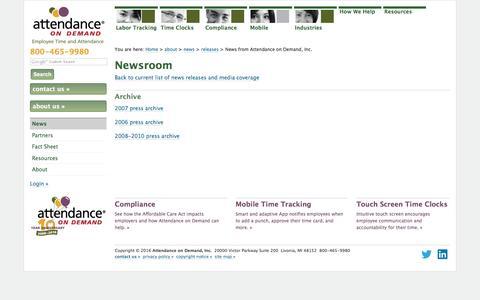 Screenshot of Press Page attendanceondemand.com - News from Attendance on Demand, Inc. - captured Oct. 21, 2016