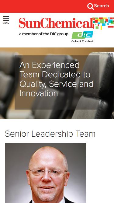 Screenshot of Team Page  sunchemical.com - An Experienced Team Dedicated to Quality, Service and Innovation - Sun Chemical