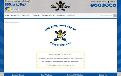 Screenshot of Hours Page shubee.com - Hours of Operations  | ShuBee - captured Oct. 29, 2014