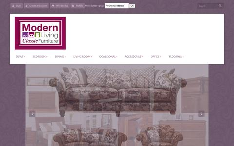Screenshot of Home Page modern-living.ie - Modern Living Furniture Kilkenny | Beds | Sofas | Dining | Rugs | Mirrors | Pictures - captured Oct. 7, 2014