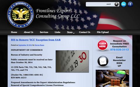 Screenshot of Press Page frontlinesllc.com - News | Frontlines Export Consulting Group, LLC. - captured Oct. 1, 2014