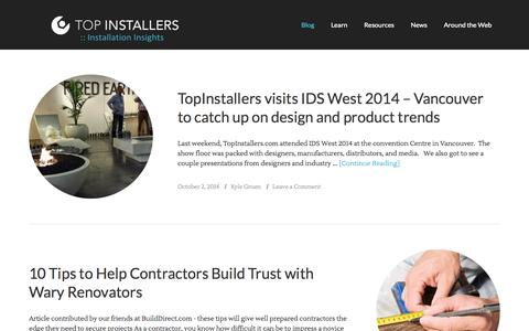 Screenshot of Blog topinstallers.com - Top Installers Blog - Installer Insights — Your Trusted Source for Local Installers - captured Oct. 7, 2014