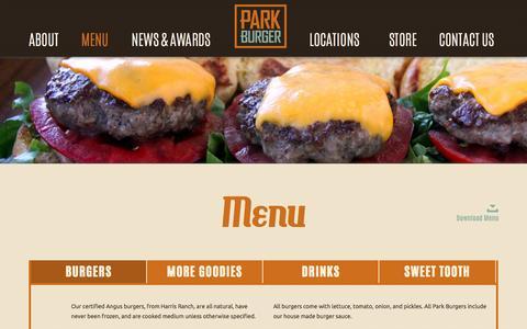 Screenshot of Menu Page parkburger.com - Park Burger | Menu - captured Sept. 27, 2014