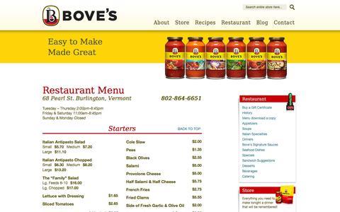 Screenshot of Menu Page Hours Page boves.com - Restaurant Menu - captured Sept. 30, 2014