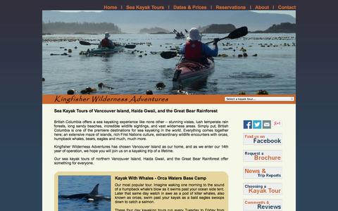 Screenshot of Home Page kingfisher.ca - Sea Kayak Tours of Vancouver Island, Haida Gwaii, and the Great Bear Rainforest with Kingfisher Wilderness Adventures. - captured Oct. 6, 2014