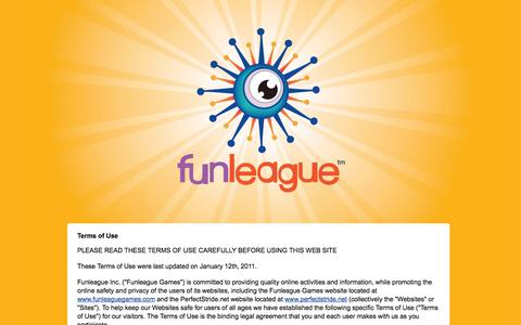 Screenshot of Terms Page funleaguegames.com - Funleague Games for Older Kids, Younger Kids and Kids at Heart | FunleagueGames.com Terms of Use - captured Oct. 6, 2014