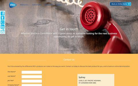 Screenshot of Contact Page irdgroup.com.au - Contact   IRD Group - Information Resource Development - captured Nov. 13, 2016