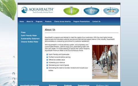 Screenshot of About Page aquahealth.com - About Us - AquaHealth - captured Oct. 8, 2017