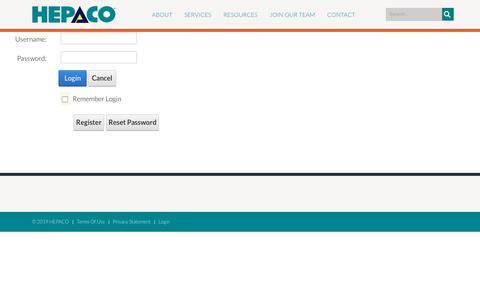 Screenshot of Login Page hepaco.com - User Log In - captured July 12, 2019