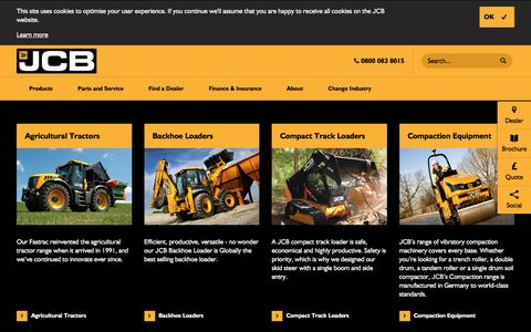 Screenshot of Products Page jcb.com - Products - captured Dec. 29, 2016