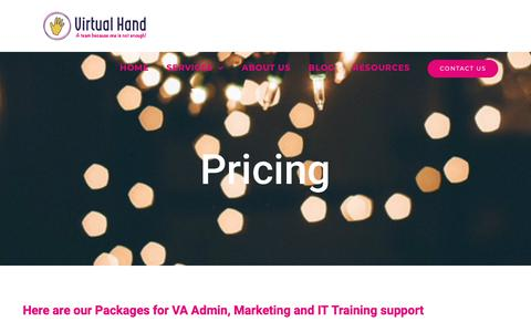 Screenshot of Pricing Page virtualhand.co.uk - PRICING - Virtual Hand PA Services - captured Oct. 23, 2018