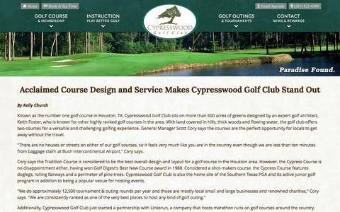 Screenshot of Press Page cypresswood.com - Cypresswood Golf Club | Public Houston Course | Spring, TX - Golf News & Specials - captured June 17, 2016