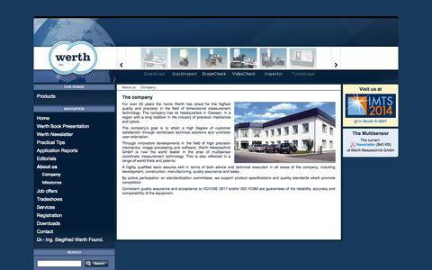 Screenshot of About Page werthinc.com - Company - Werth Inc. - captured Oct. 7, 2014